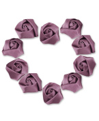 Ajetex 50pcs Satin Ribbon Rose Flower 25mm Wedding Appliques Bean Powder