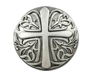 Screwback Cross Concho Button For Leather or Clothing Accessory