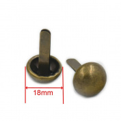 "Fujiyuan 100 pcs 18mm 3/4"" Round Purse NAILHEADS Handbag Spot Feet Stud Spike Biker Leather Craft Bronze"