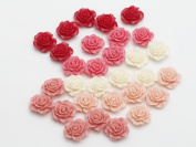 Gauze and workshop Flower cabochon rose about 25 20mm 5 colour set 2cm 1 one hole flower flower hole with parts through handmade craft supplies accessory parts