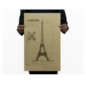 Dnven (36cm w x 50cm h) Retro Vintage La Tour Eiffel Detailed Engineering Drawing Kraft Paper Posters for Bars Cafe Home Decorations