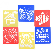 BCP Set of 6 Assorted Colour Animal Happy Life Drawing Painting Stencils Templates for Kids