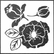 15cm x 15cm Woodcut Roses Stencil by Desiree Habicht