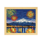 Orimupasu cross stitch embroidery kit attractions series Kawaguchiko winter fireworks and Fuji beige 7462