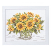 Orimupasu cross stitch embroidery kit Flower Garden friendly flower embroidery amount Sunflower white 7287