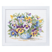 Orimupasu cross stitch embroidery kit Flower Garden friendly flower embroidery amount wild pansy white 7285