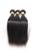 Oriental Show 8~80cm 6A Brazilian Silky Straight, Pack of 3(Mixed Length), 100% Unprocessed Virgin Human Hair, 300g Total(100g Each), Natural Colour