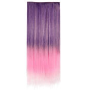 Ecvtop 24 Inch 60cm Straight 3/4 Full Head Synthetic Hair Extensions Clip On/in Hairpieces 5 Clips