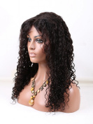 DLW Hair Unprocessed Human Hair Full Lace Wig Curly Natural Colour 130% Density for Black Women