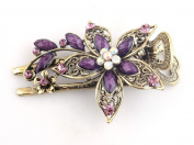 Beyend Purple Women's Vintage Crystal Petal Hair Clip Head Wear BE-04