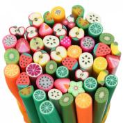 DANCINGNAIL 50pcs Nail Art 3D Flower Fruit Polymer Clay Canes Rod Nail Decorations Stick Sticker Fruit Shape