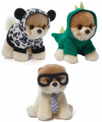 Gund Itty Bitty Boo Dog Plush Trio, Rex/Leopard/Nerdy