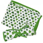 White St. Patrick's Day Baby Blanket With Green Shamrock Design