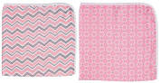 Blossoms & Buds Baby Girls' Pink Cotton Muslin Swaddle Blankets, Set of 2