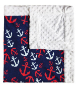 Blossoms & Buds Anchors Away Minky Dot Blanket