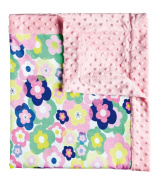 Blossoms & Buds Preppy Baby Floral Minky Dot Blanket