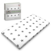 Brooklyn Bamboo Softest Organic Bamboo Portable Fitted Crib Sheet Hypoallergenic, Breathable & Cutest Of All Portable Sheets Unisex, Boy Or Girl Perfect For Baby Registry And Gift Basket Sets