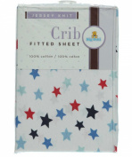 Big Oshi Fitted Crib Sheet - white/blue, one size