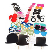 44pcs Photo Booth Props Lips Moustache On A Stick For Wedding Party