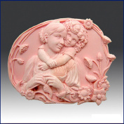 Oval - Child Hugging Mother - Detail of High Relief Sculpture - Silicone Soap/polymer/clay/cold Porcelain Mould