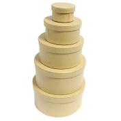 CurtzyTM Set of 5 Plain Round Cardboard Stackable Nesting Craft Boxes Decoupage Papier Mache Paintin