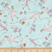 "1/2 Yard - ""Walk the Dog"" Pink Ladies & Bulldogs on Blue Cotton Fabric (Great for Quilting, Sewing, Craft Projects, Quilt, Throw Pillows, Dog Bandana & More) 1/2 Yard X 110cm"