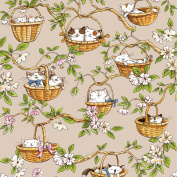 Cat Fabric - Cats in the Garden - Cats in Baskets - Tan - 100% Cotton - By the Yard