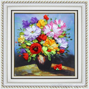 Kisstaker 40x50cm 3D Silk Ribbon Flowers of Spring Cross Stitch Kit Embroidery DIY Handwork Home Decoration