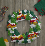 Snow Village Felt Appliqué Wreath by Bucilla