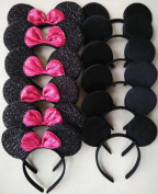 Mickey Mouse Ears Solid Black and Bow Minnie Headband for Boys and Girls Birthday Party or Celebrations