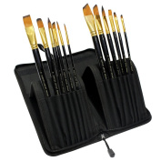 KurtzyTM 12 Piece Artist Brush Set Paint Brushes In Zippered Case For Acrylic, Water, Gouche Paints