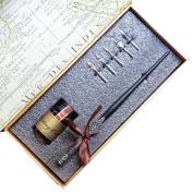 Vintage Wooden Stem Carved Nibbed Writing Dip Pen Calligraphy Pen ink set