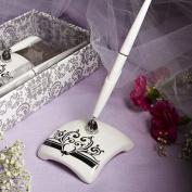 KateMelon Wedding Accessories Pen Set, Black Damask Pen