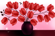 OneHippo 5D Flowers Diamond Painting Cross Stitch Flowers Round Resin Diamond Mosaic Partial Embroidery Red Tulip Painting (50x70)CM
