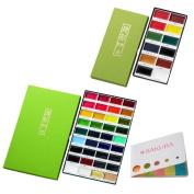 Kuretake Gansai Tambi 12 Colour Set (MC20/12V)+36 Colour Set (MC20/36V) Japanese Traditional Solid Water Colours セット + SAKURA original sticky notes