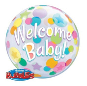 Welcome Baby Colourful Dots Qualatex 60cm Bubble Balloon