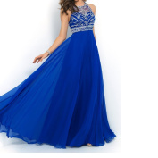Blue Halter Beaded Chiffon Prom Dresses
