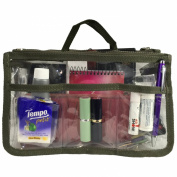 Clear Handbag Organiser See Through Cosmetic Badget Insert Purse Organiser Transparent Travel Pouch Liner with handle, Dk Green
