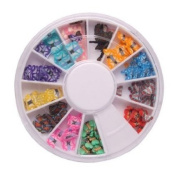 DGI MART Nail Polish Accessories 144 Pcs 12 Colour 3D Butterfly Shaped Nail Art Fimo Slice Slices Decal Pieces
