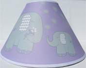 Purple Elephant Lamp Shade with Dandelions / Elephant Nursery Decor