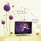 Purple Romantic Dandelions Butterflies English Letters Wall Decal PVC Home Sticker House Vinyl Paper Decoration WallPaper Living Room Bedroom Art Picture DIY Murals Girls Boys kids Nursery Baby Decor