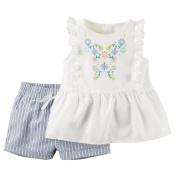 Carter's_1 Girl Collection 2pc Ticking Stripe Short Set, Ivory, 3 Months