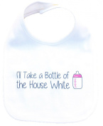 "RoyalT Wardrobe ""Drink Till I Pass Out"" 100% Cotton White Baby Bib black text"