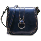 Floto Women's Saddle Bag in Blue Italian Calfskin Leather - handbag shoulder bag