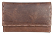 Women's Brown Natural Strong Genuine Leather Wallet Without Any Logos or Markings