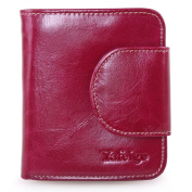 Yafeige Women's Small Compact Wax Genuine Leather Tri-Fold Wallet with Zipper Pocket