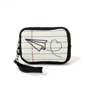 Paper Aeroplane Drawing On A Notepad Canvas Wristlet