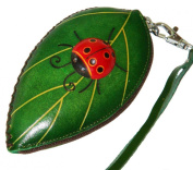 Leather Change/coin Purse, Jewellery Holder. Green Leaf and Ladybug Pattern, Zipper.