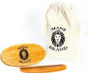 Premium Bamboo Military Style Beard Brush - 100% Genuine Boar Bristles Medium Firmness - Bamboo Wood Hair Brush Comb - Matching Travel Bag included - by Mane Brand Brushes