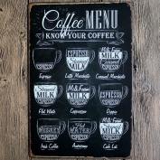 Retro Metal Tin Sign - Coffee Menu